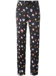 Christopher Kane Pansy Print Track Pants Black