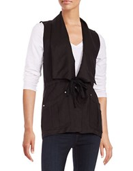 Context Linen Blend Drawstring Vest Black