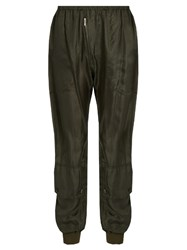 Katharine Hamnett At Ymc Ribbed Cuff Silk Georgette Trousers Khaki