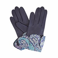 Gizelle Renee Palesa Navy Leather Gloves With Bc Liberty Tana Lawn Blue