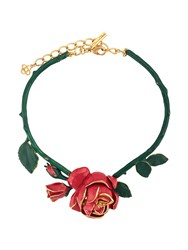 Oscar De La Renta Rose Ornament Necklace Red