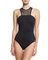 Carmen Marc Valvo Sporty Soul Mesh High Neck One Piece Swimsuit Black