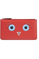 Fendi Studded Leather Pouch Red