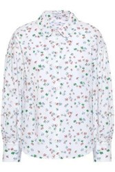 Claudie Pierlot Floral Print Cotton Poplin Shirt Off White Off White