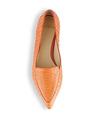 Alexandre Birman Python Point Toe Loafers Orange