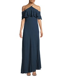 Bailey 44 Pudina Crochet Halter Maxi Dress Blue