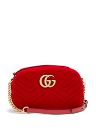 Gucci Gg Marmont Quilted Velvet Cross Body Bag Red