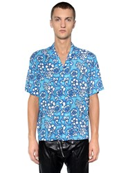 Dsquared Floral Printed Viscose Bowling Shirt Blue White