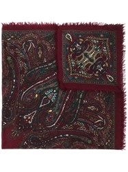 Zanone Paisley Print Scarf Red