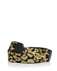 Marc Jacobs Webbed Leopard Handbag Strap Gold Black