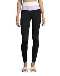 Beyond Yoga X Kate Spade New York Blocked High Waist Leggings Black Lilac White Black Purple