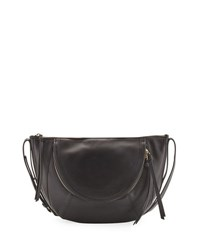 Kooba Clara Half Moon Leather Shoulder Bag Black