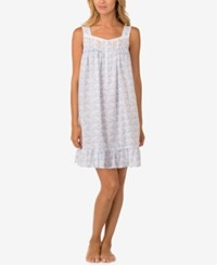 Eileen West Embroidery Trimmed Cotton Nightgown White Periwinkle
