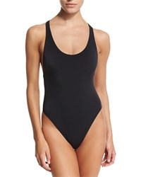 Milly Marini Solid Racerback One Piece Swimsuit Black