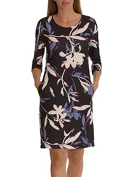 Betty And Co. Floral Print Jersey Dress Grey Cream