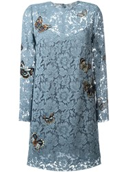 Valentino Japanese Butterfly Embroidered Heavy Lace Dress Blue