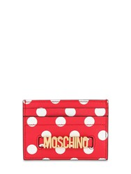 Moschino Dot Printed Leather Card Holder Red White Dots