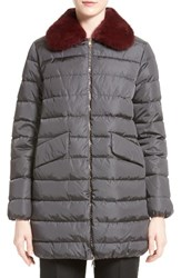 Moncler Women's 'Indis' Water Resistant Down Puffer Coat With Removable Genuine Mink Collar