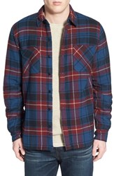 Men's Threads For Thought Lined Flannel Work Shirt Navy Burgundy