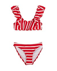 Milly Minis Striped Ruffle Pinafore Two Piece Swimsuit Size 7 16 Red