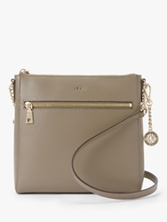 Dkny Bryant Leather Zip Top Cross Body Bag Mushroom