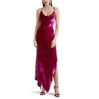 Juan Carlos Obando Velvet Asymmetric Cocktail Dress Pink