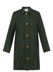 By Walid Cedric Floral Embroidered Linen Coat Green