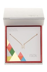 Nordstrom Rack Gold Plated Sterling Silver Pave Cz 'H' Initial Pendant Necklace Metallic