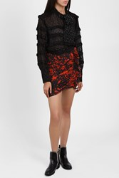 Isabel Marant Women S Printed Ruched Mini Skirt Boutique1 Red