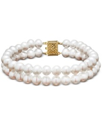 Honora Style Cultured Freshwater Pearl Two Row Bracelet In 14K Gold 6Mm