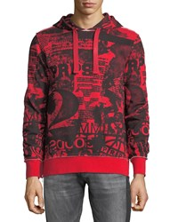 Prps Graphic Hoodie With Side Zips Red