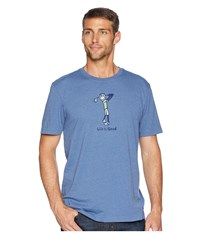 Life Is Good Classic Golf Crusher Tee Heather Vintage Blue T Shirt