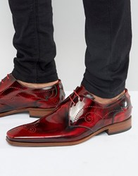 Jeffery West Scarface Leather Derby Brogues Red