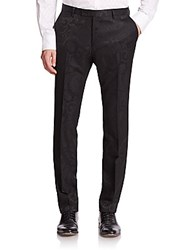 Sand Paisley Wool Dress Pants Black