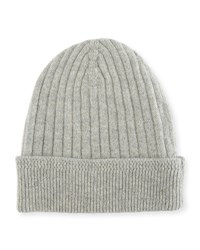 Tom Ford Ribbed Cashmere Beanie Hat Gray