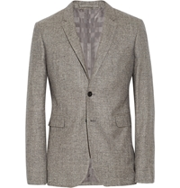 Burberry Grey Slim Fit Silk Linen And Wool Blend Tweed Blazer Gray