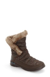 The North Face Women's Microbaffle Waterproof Thermoball Insulated Winter Boot Tweed Print Tapestry Print