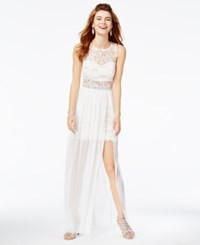 Amy Byer Bcx Juniors' Sequined Lace Illusion Gown A Macy's Exclusive Style White