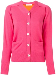 Sacai Luck Two Tone Cardigan Pink And Purple