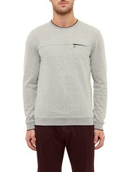 Ted Baker Malibo Textured Crew Neck Jumper Grey
