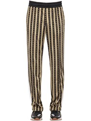 Versace Greca Printed Jersey Track Suit Pants Black Gold