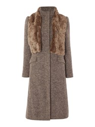 Linea Fit And Flare Funnel Neck Coat Chocolate