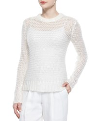 Michael Kors Long Sleeve Loose Knit Mohair Blend Sweater White