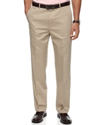 Haggar Pants No Iron Cotton Classic Fit Flat Front Khaki