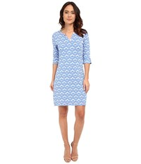 Hatley Peplum Sleeve Dress Embossed Flowers Women's Dress Blue