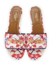 Aquazzura St. Tropez Embroidered Slide Sandal Pink White Pink White