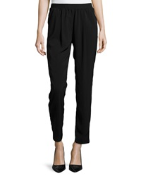 Neiman Marcus Pull On Cropped Pants Black