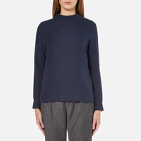 A.P.C. Women's Lois Side Button Long Sleeve Top Navy Blue