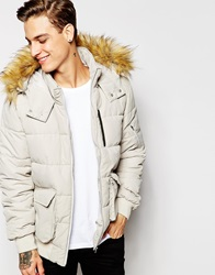 Asos Short Quilted Parker With Faux Fur Hood In White