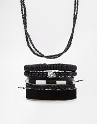 Asos Leather Necklace And Bracelet Pack In Black